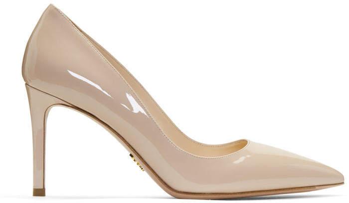 Prada Beige Patent Pointy Heels
