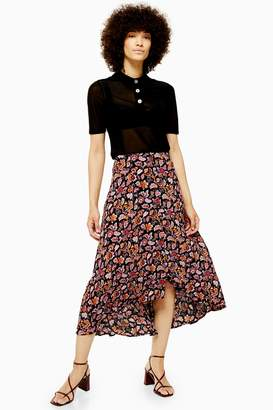 Topshop Womens Floral Button Midi Skirt - Black