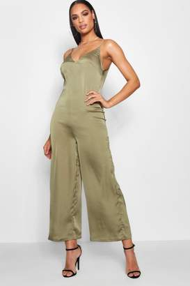 boohoo Strappy Cami Luxe Satin Wide Leg Jumpsuit