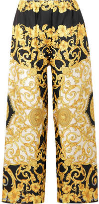 Versace Printed Cropped Silk-charmeuse Wide-leg Pants