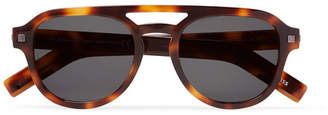 Ermenegildo Zegna Aviator-Style Tortoiseshell Matte-Acetate Sunglasses