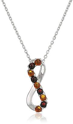 Rhodium Plated Silver Amber Pendant Necklace