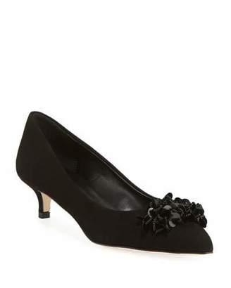 Sesto Meucci Belia Kitten-Heel Leather Ornament Pumps