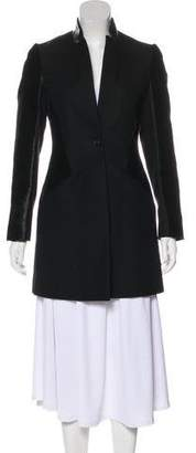 AllSaints Short Leather-Trimmed Coat