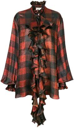 Redemption checked ruffle blouse