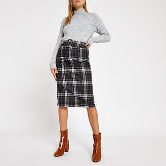 River Island Blue check belted pencil skirt