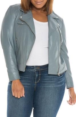 Plus Size Women's Slink Jeans Crop Leather Moto Jacket $320 thestylecure.com