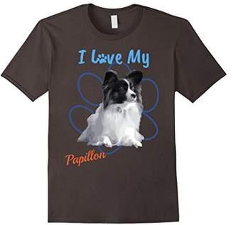 I Love My Papillon Best Dog Lover Paw Print T-Shirt!