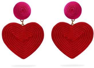 Rebecca De Ravenel - Cora Heart Cord Earrings - Womens - Red