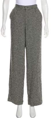 Theyskens' Theory Houndstooth High-Rise Wide-Leg Pants