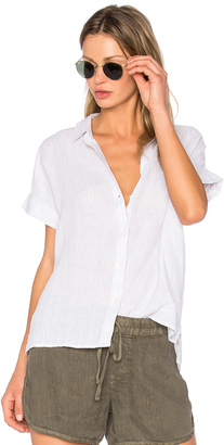 James Perse Short Sleeve Linen Button Up $185 thestylecure.com