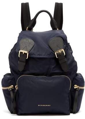 Burberry - Medium Nylon And Leather Backpack - Womens - Navy