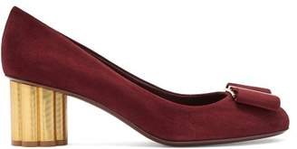 Salvatore Ferragamo Capua Flower Column Heel Suede Pumps - Womens - Burgundy