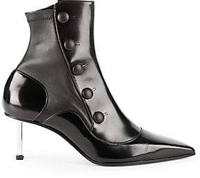Alexander McQueen Women's Mid-Heel Leather Point-Toe Booties