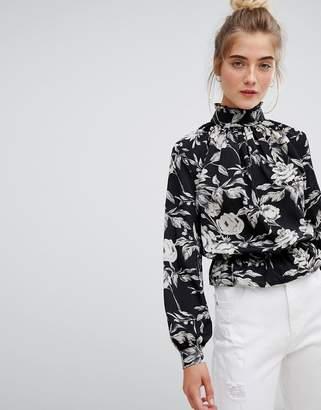 Parisian high neck floral blouse