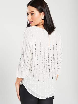 River Island Sequin Batwing Woven Top - White