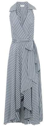 Milly Striped Silk And Cotton-blend Voile Midi Wrap Dress
