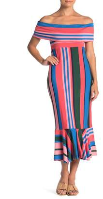 Ella Moss Nora Striped Off-the-Shoulder Midi Dress