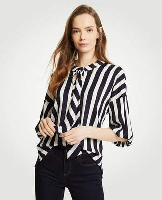 Ann Taylor Stripe Tie Neck Puff Sleeve Blouse