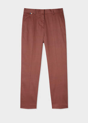 Paul Smith Women's Slim-Fit Rust And Black Check Stretch-Cotton Pants