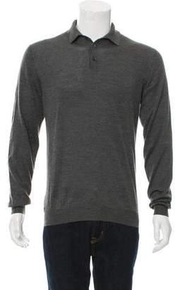 Malo Cashmere-Blend Button-Up Polo Shirt