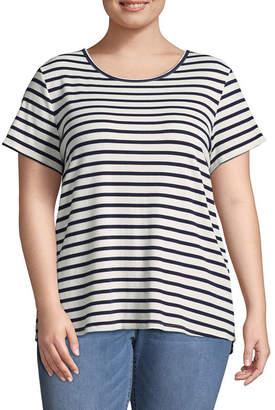 Boutique + + Short Sleeve Lace Up Back Rib T-Shirt - Plus