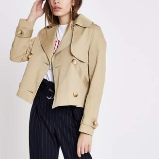 River Island Womens Beige crop trench coat