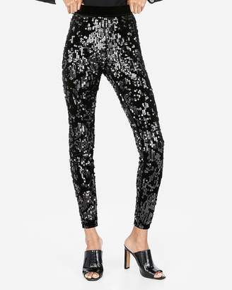 Express Petite High Waisted Velvet Sequin Leggings