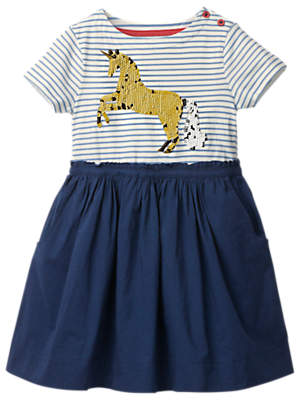 Boden Mini Girls' Sequin Unicorn Dress, Blue