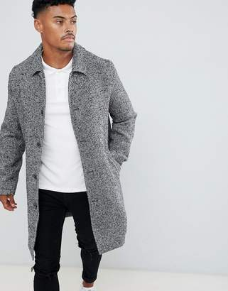 Asos DESIGN wool mix overcoat in black texture
