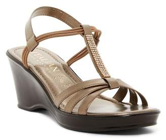 Italian Shoemakers Crystal T-Strap Wedge Sandal