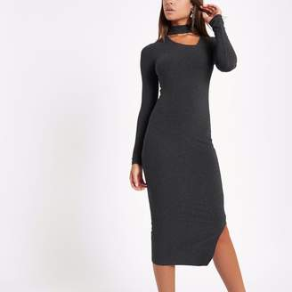 River Island Womens Dark Grey rib choker bodycon midi dress
