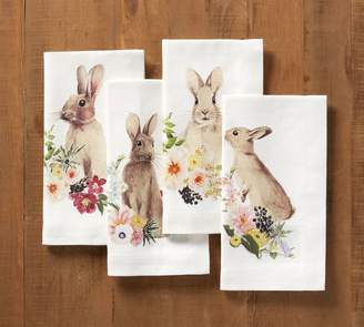 Pottery Barn Floral Bunny Napkin, Mixed Set of 4
