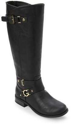 g by guess Black Hurdle Buckled Knee High Boots $99 thestylecure.com