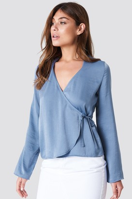 NA-KD Na Kd Wrap Over Satin Shirt Blue Stone