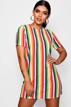 boohoo Rainbow Stripe Short Sleeve Shift Dress