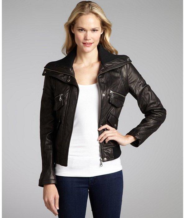 DKNY black leather zip front bomber jacket