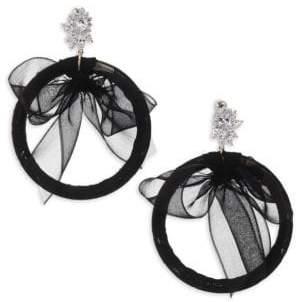 Fallon Monarch Tuxedo Bow Hoop Earrings