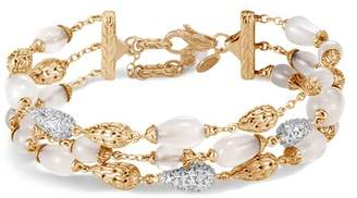 John Hardy 18K Yellow Gold Classic Chain Pavé Diamond & White Moonstone Multi-Strand Bracelet