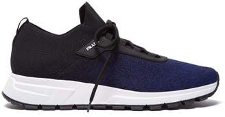 Prada New Match Leather Trimmed Knit Trainers - Mens - Navy Multi