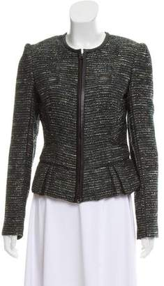 J. Mendel Leather-Trimmed Tweed Jacket