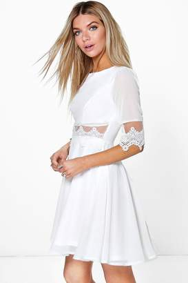 boohoo Lace & Mesh Insert Skater Dress