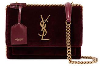 Saint Laurent Sunset Small Velvet Shoulder Bag - Burgundy