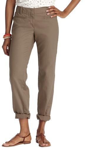 LOFT Tall Julie Trouser Pants in Cotton Linen Canvas