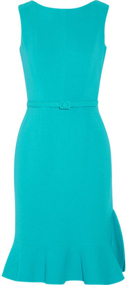 Oscar de la Renta - Belted Wool-blend Dress - Turquoise $1,890 thestylecure.com