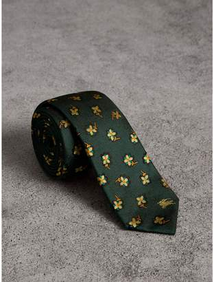 Burberry Slim Cut Floral Silk Brocade Tie