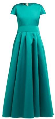 Rochas Short Sleeved Duchess Satin Gown - Womens - Green