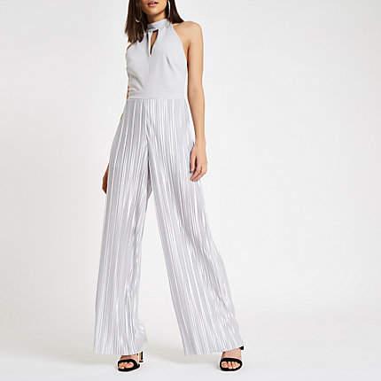 Womens Silver halter neck wide leg plisse jumpsuit