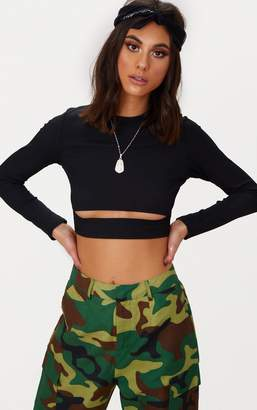 PrettyLittleThing Black Rib Long Sleeve Under Bust Crop Top