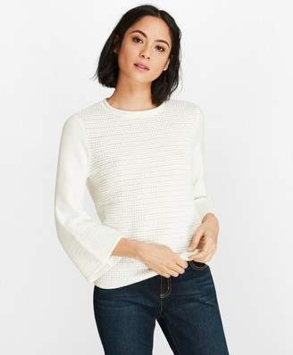 Brooks Brothers Crochet Bell-Sleeve Sweater